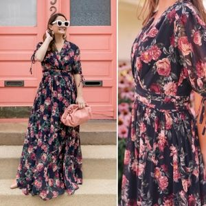 Gal Meets Glam Ashlynn Floral Chiffon Maxi Dress